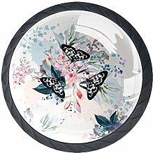 Vintage Retro Butterfly Floral Cabinet Door Knobs