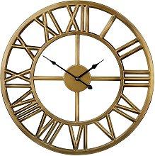 Vintage Retro Gold Iron Wall Clock Round Black