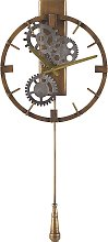 Vintage Retro Wall Pendulum Clock Gold Iron Round