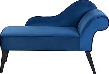 Vintage Right Hand Velvet Chaise Lounge Cobalt