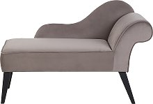 Vintage Right Hand Velvet Chaise Lounge Taupe