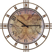 Vintage Round Gold Iron Wall Clock Geographic
