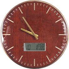 Vintage Round Iron Gold-brown Wall Clock Wooden
