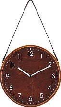 Vintage Round MDF Faux Leather Brown Wall Clock