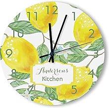 Vintage Round Wooden Wall Clock - Lemon Kitchen