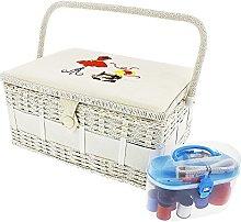Vintage Sewing Basket Organizer Box Kit with Hand