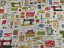 Vintage Sewing Bobin & Basket Fabric
