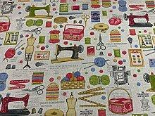 Vintage Sewing Bobin & Basket Fabric
