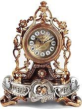 Vintage Silent Mantel Clock, Polyresin, Battery