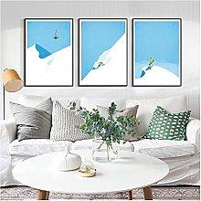 Vintage Ski Poster Snow Mountain Canvas Painting