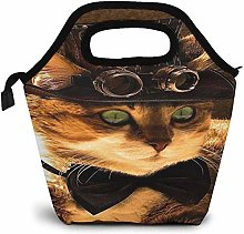 Vintage Steampunk Cat Insulated Lunch Bag Custom