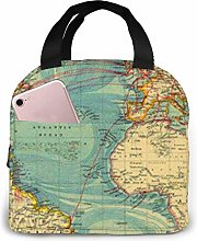 Vintage Style World Map Lunch Bag,Reusable