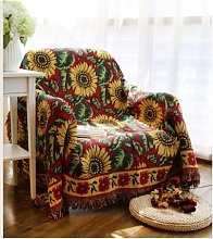 Vintage Sunflower Sofa Throw Blanket Jacquard