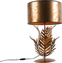Vintage table lamp gold with bronze shade -