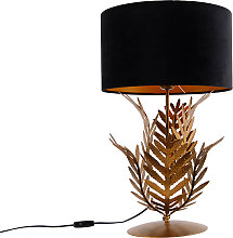 Vintage table lamp gold with velvet shade black 35