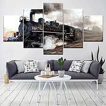 Vintage Train Landscape5 Panel Wall Art Paintings