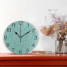 Vintage Turquoise Stripes Design Round Wall Clock,