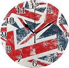 Vintage UK Flag British Wall Clock Silent Non