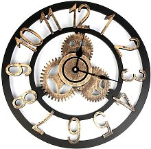 Vintage Wall Clock, 3D Roman Numeral Wall Pendulum