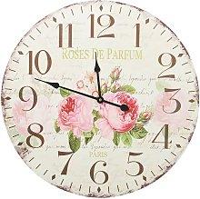 Vintage Wall Clock Flower 60 cm - Multicolour -