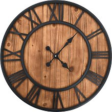 Vintage Wall Clock with Quartz Movement Wood and