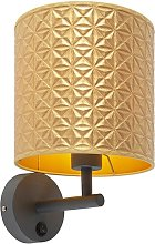 Vintage wall lamp dark gray with gold triangle