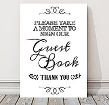 Vintage Wedding Guest Book Table Sign (GG) (White)