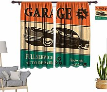 Vintage Window Curtains, Garage Retro Poster with
