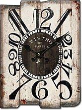Vintage Wood Clock G1, Rectangular Wall Clock,