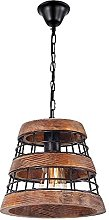 Vintage Wood Pendant Lamp Wooden Metal Cage