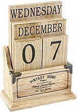 Vintage Wooden Perpetual Calendar - Desk Top