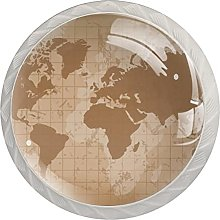Vintage World Map Earth, Modern Minimalist