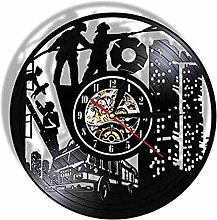 Vinyl clock firefighter record wall clock fire