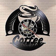 Vinyl Coffee Record Wall Clock Modern Design Retro
