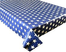 Vinyl Pvc Tablecloth Blue with White Stars 2.5