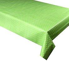 Vinyl Pvc Tablecloth Green Polka Dot 2 metres