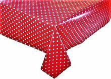 Vinyl PVC Tablecloth Red Polka Dot 2 metres