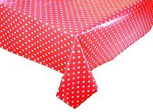 Vinyl Pvc Tablecloth Red Polka Dot 3 metres