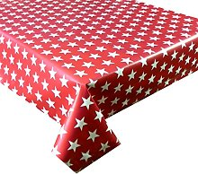 Vinyl PVC Tablecloth Red with White Stars 2 metres