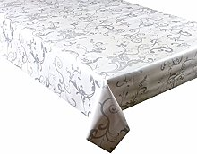 Vinyl Pvc Tablecloth White Background With Silver