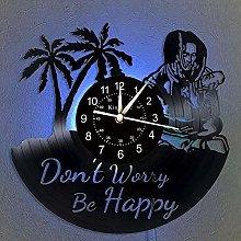 Vinyl Record Wall Clock, Bob Marley LED 7 Color