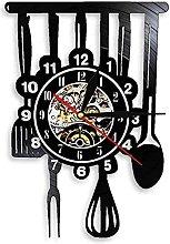 Vinyl record wall clock kitchen spoon pendulum