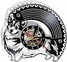Vinyl Record Wall Clock Quartz Silent Corgi