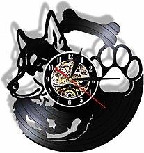Vinyl Record Wall Clock Quartz Silent Husky