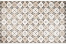 Vinyl rug with taupe, grey and white graphic print