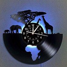 Vinyl Wall Clock, Africa - Safari animals 7 Color