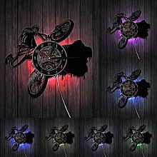 Vinyl wall clock Bike LED Lighting Vinyl Record