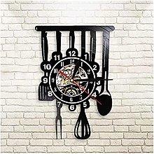 Vinyl Wall Clock Kitchen Utensils Vinyl Clock Wall