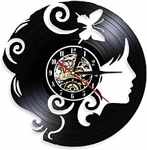 Vinyl Wall Clock Lady with Butterfly Clip Wall Art
