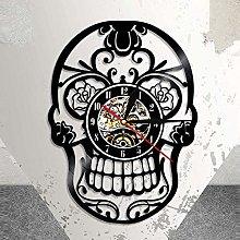 Vinyl Wall Clock Mexican Skull Vinyl Wall Clock